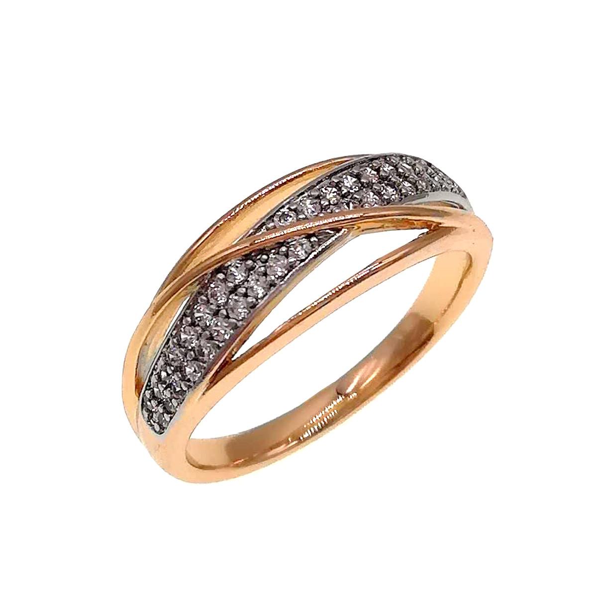 Кольцо Xuping из медицинского золота, белые фианиты, позолота 18K + родий, 11890             (19)