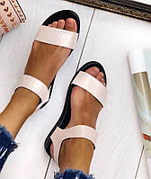 Mario! Летние женские сандалии натуральная пудра кожа без каблука на липучке