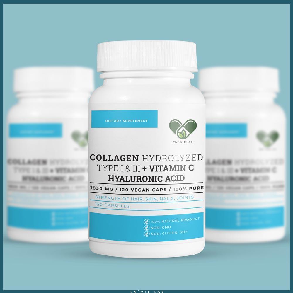 Спортивний препарат для суглобів і зв'язок 1830 мг. (Collagen + Hyaluronic + Vitamin C) En'vie Lab