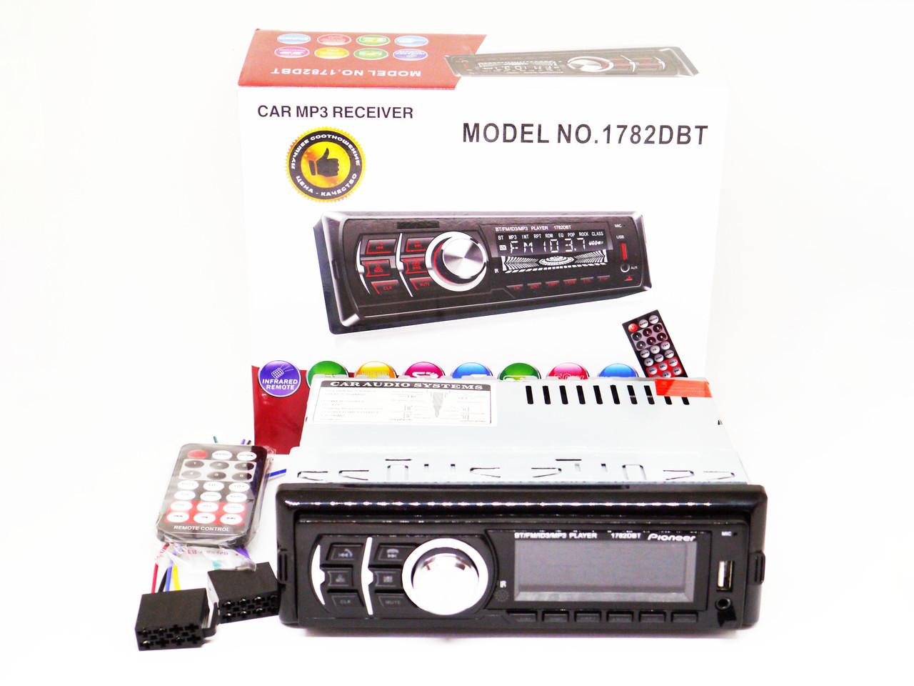 Автомагнитола Pioneer 1782DBT Bluetooth - USB+RGB подсветка+FM+AUX+Пульт