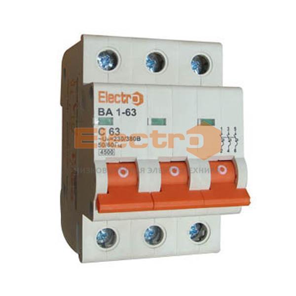 Модульный автоматический выключатель ВА1-63 3п