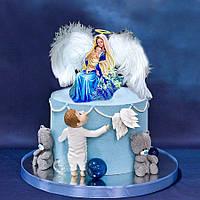 Топпер ангел на крещение, Ангел с натуральными крыльями, Топпер на крещение, Топпер Ангел на торт