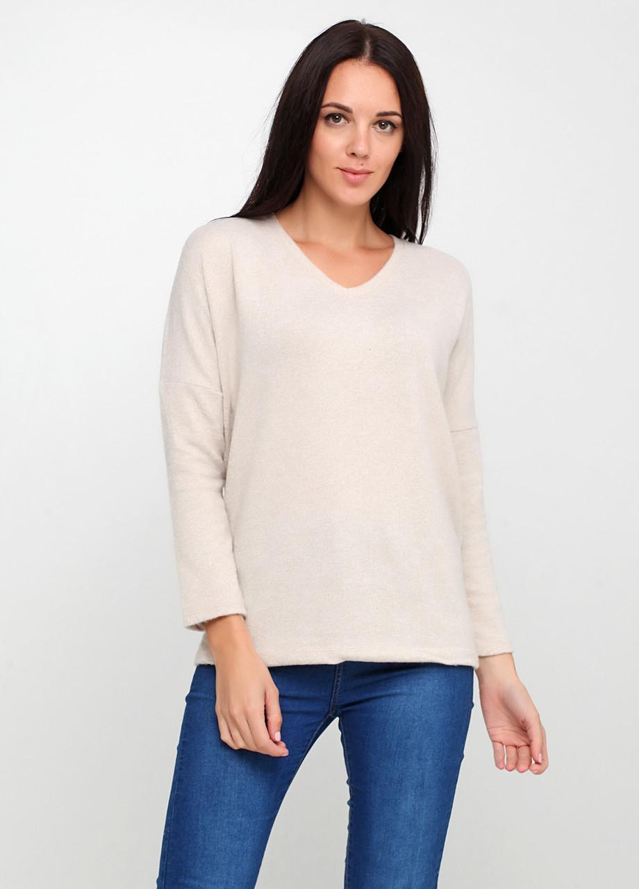 Бежевый свитер пуловер SHN