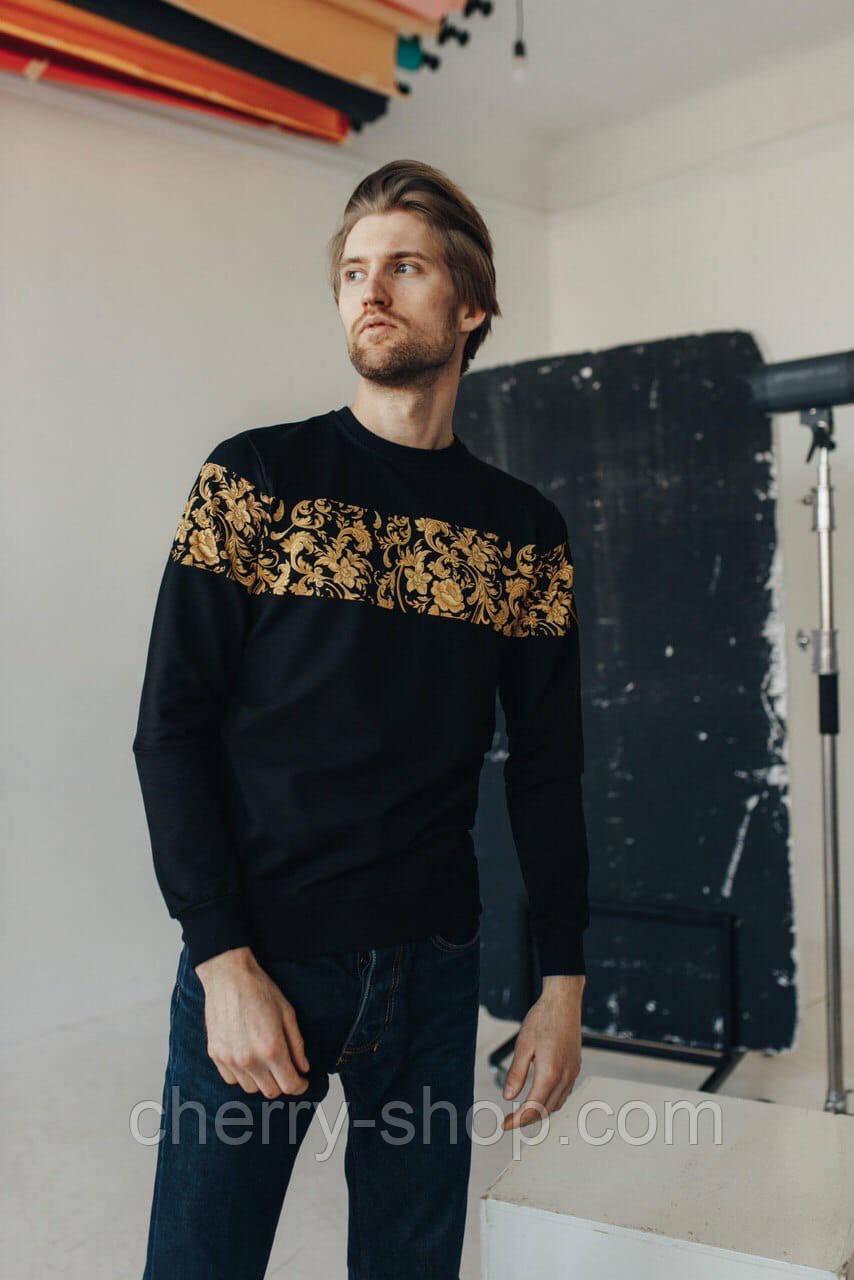 Стильный мужской черный свитшот с орнаментом