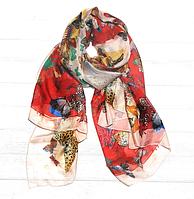 Легкий шарф Бабочки, 190*110 см, алый/розовый