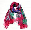 Легкий шарф Бабочки, 190*110 см, малиновый