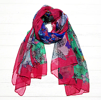 Легкий шарф Бабочки, 190*110 см, малиновый, фото 1