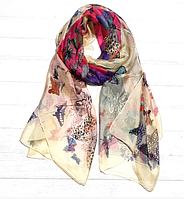 Легкий шарф Бабочки, 190*110 см, кремовый