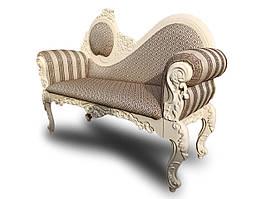 Кушетка банкетка софа диванчик Лідія Біла ручної роботи у стилі бароко
