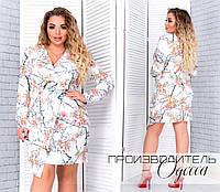 """Стильное женское платье с V-образном декольте, ткань """"Софт"""" 50, 52, 54, 56, 58 размер батал"""