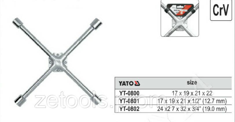 """Ключ балонний хрестовий укріплений 17х19х21x1/2"""" Yato YT-0801"""