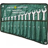 Набор ключей рожково-накидных 12 шт (6,8,10,12-19,22 мм) на полотне Автотехника 101123-П