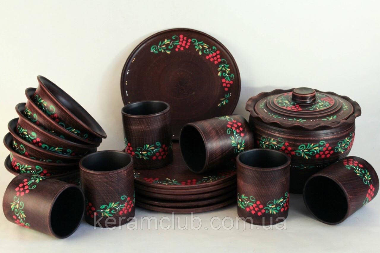 """Набор """"Калинка"""" из красной глины с рисунком на 6 персон"""