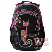 Рюкзаки для девочек Winner Stile 34*15*40 (чёрно розовый)