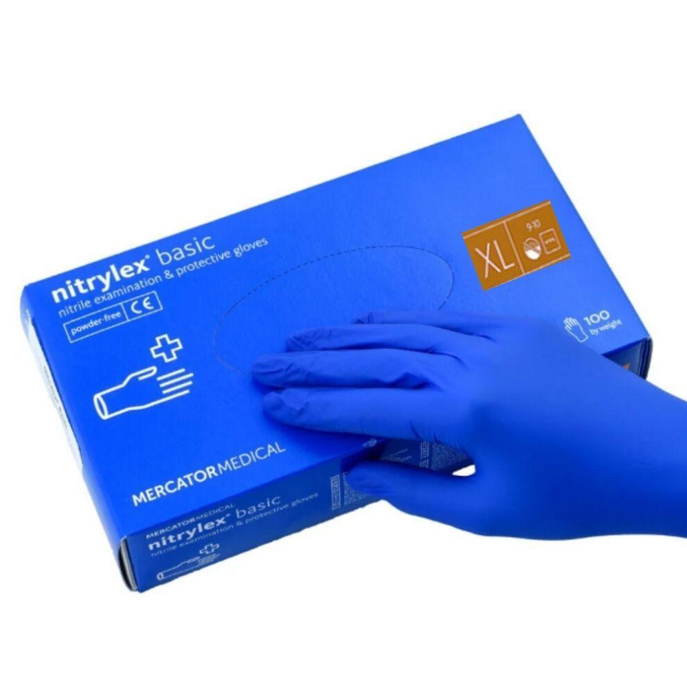 Перчатки нитриловые  XL, Nitrylex Basic, синие одноразовые неопудренные 100 шт.