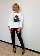 Белая блузка с фотопринтом X&T