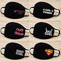 Маска чёрная трёхслойная для лица с принтом для девушек №3