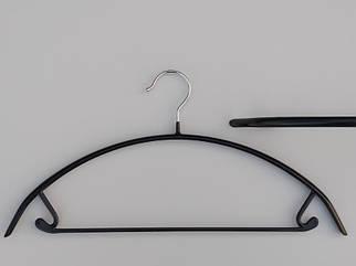 Плечики вешалки тремпеля металлический в силиконовом покрытии черного цвета, длина 42  см