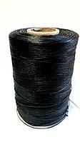 Нить вощеная плетеная по коже 1 мм, 500 м чёрная, плоский шнур/ нитка вощена плетена по шкірі  1 мм чорна