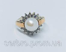 Серебряное кольцо с золотом и жемчугом Цветок