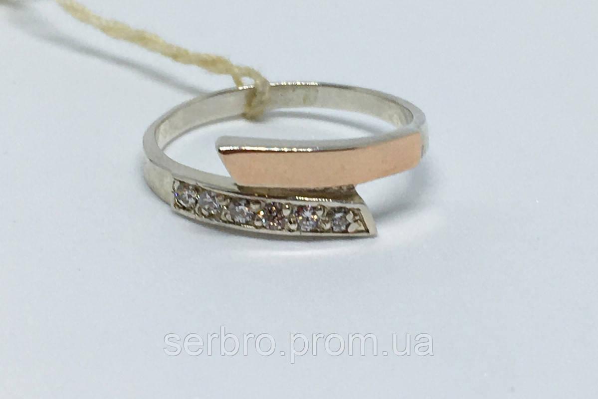 Кольцо в серебре с золотом и фианитами Нежность