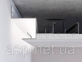 Алюмінієвий профіль світлотіньового шва для LED підсвічування по периметру примикання стіна-стеля для шва 25мм.З-2