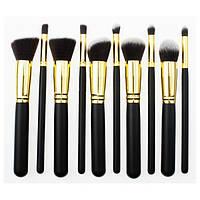 Набор кистей для макияжа 10 штук (черные) высокое качество