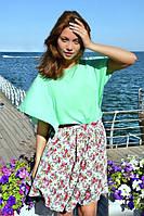 Женская стильная юбка в цветочки, фото 1