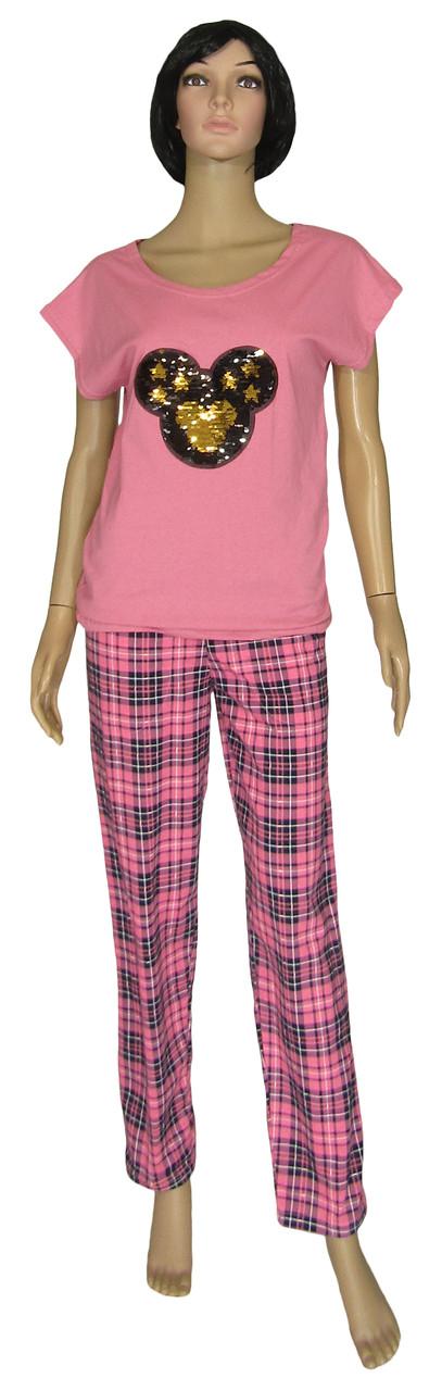 Женский домашний костюм с вышивкой, футболка и брюки 19025 Minnie коттон Ярко-розовый