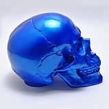 Череп декоративный синий в натуральную величину из гипса, фото 2