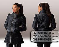 Стильная женская куртка из стеганого синтепона, декорированная кружевом черная