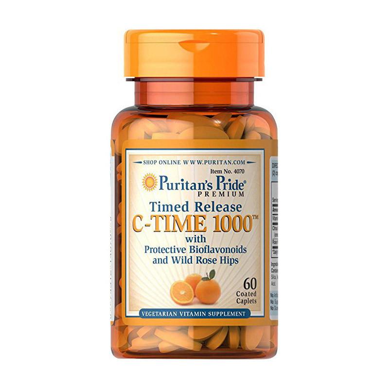 Puritan's Pride Vitamin C-1000 mg with Bioflavonoids and Rose Hips, Витамин С (60 Таб.)