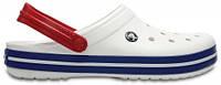 Летние кроксы Crocs Crocband бело-синие