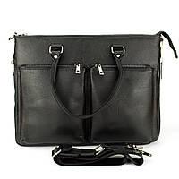 Сумка портфель кожаная для ноутбука А4 SFIP 8027 Black