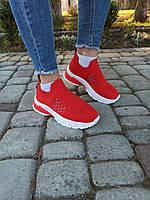 Красные  легкие  кроссовки на лето