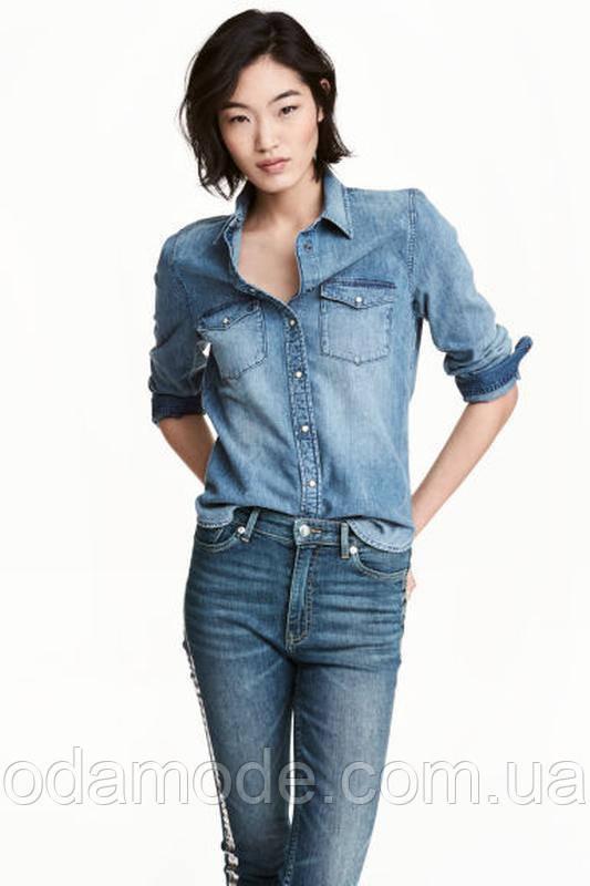 Рубашка женская котоновая голубаяH&M