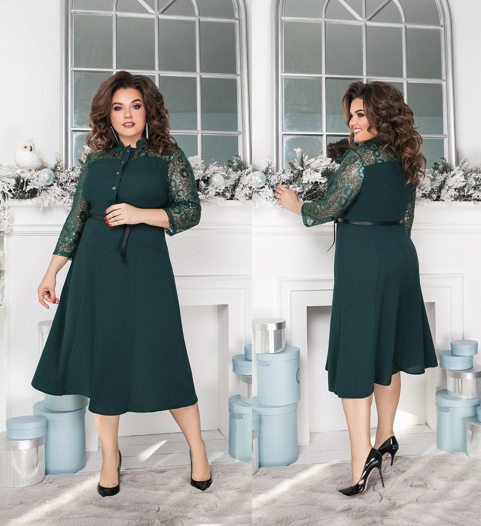"""Красивое женское платье со вставочками органзы ткань """"Креп-Дайвинг"""" 54 размер"""