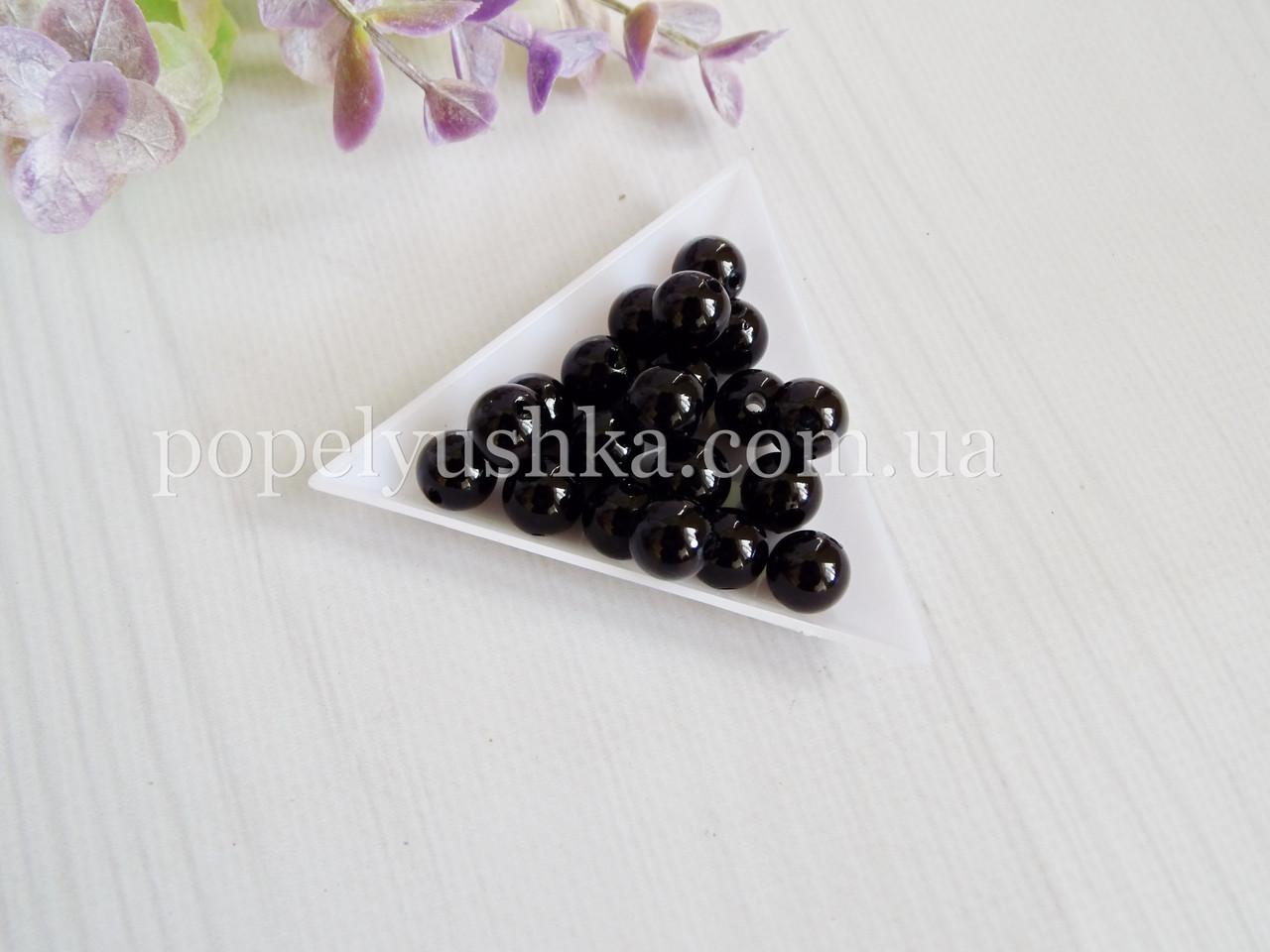 Перлини скляні 8 мм Чорні (20 шт)