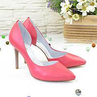 Женские кожаные коралловые туфли на шпильке. 37 размер