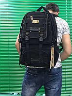 Качественные, надежные и прочные рюкзаки из брезента с клапаном Goldbe - черный, большой\ 50х30х20