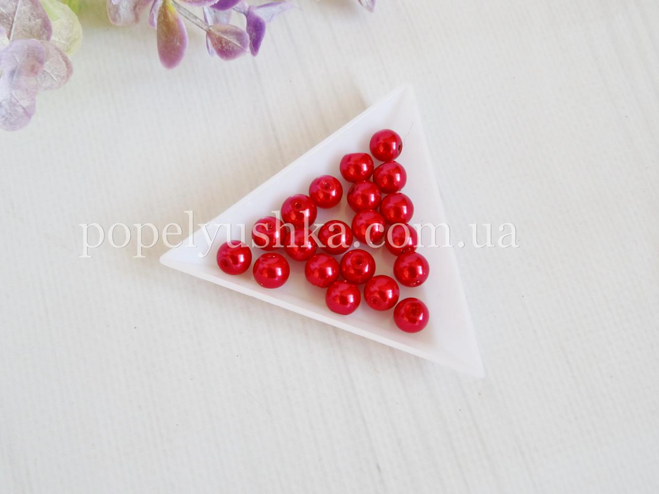 Перлини скляні  6 мм Червоні (50 шт.)