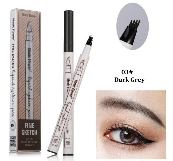 Карандаш-маркер для бровей Music Flower Fine Sketch Dark grey (003001)