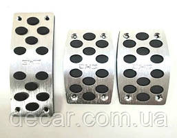 Накладки на педали  Silver/black  MT-1 металл Люкс  (3701)