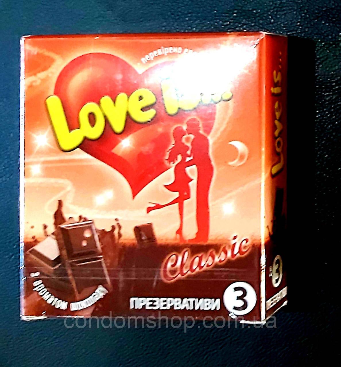 Презервативы Love is с ароматом ШОКОЛАДА и комиксом-вкладышем  ,3 шт.Великобритания