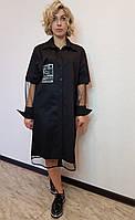 Черное платье-рубашка с отложным воротником Salkim