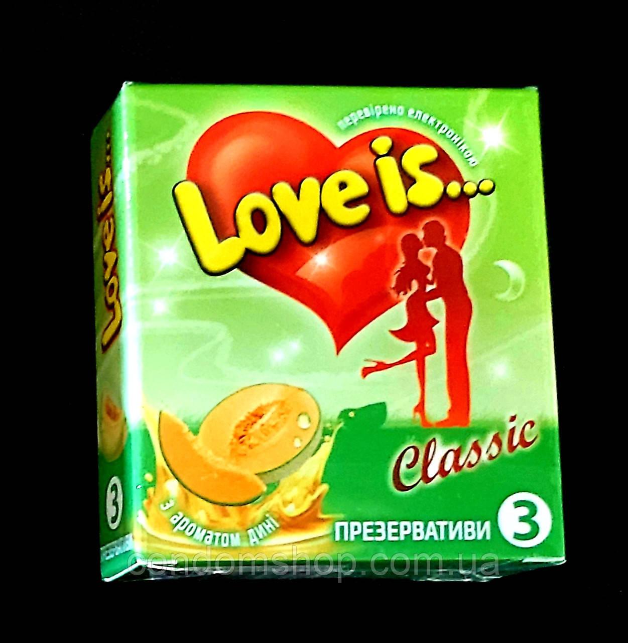 Презервативы Love is премиум с ДЫНЕЙ И комиксом-вкладышем .Великобритания, 3 шт.