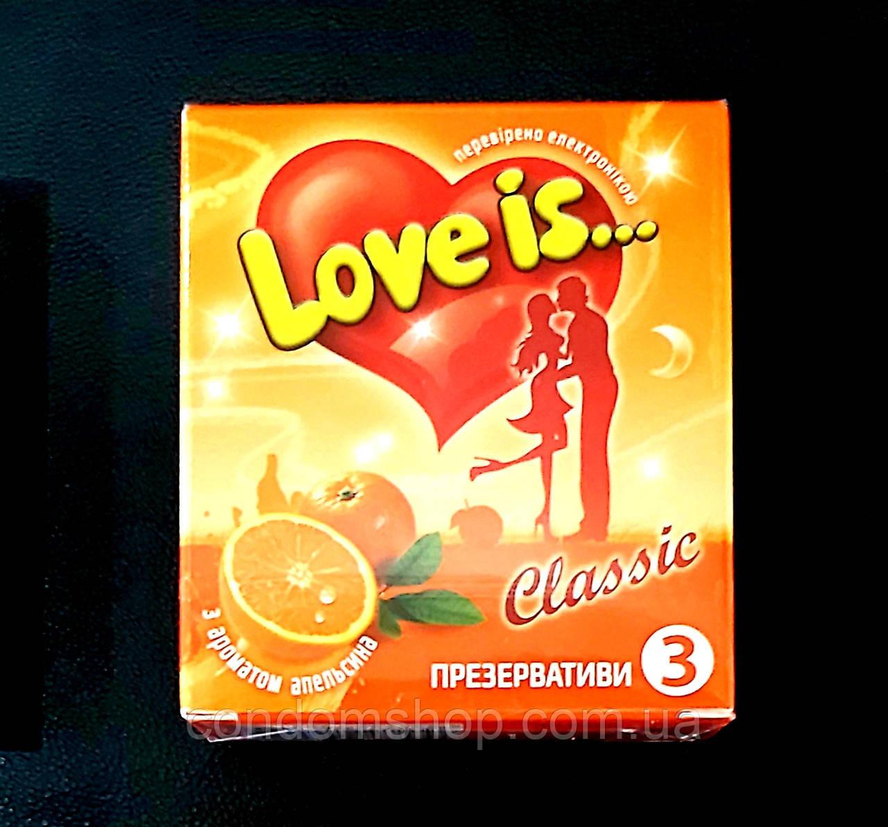 Презервативы LOVE IS премиум  со вкусом АПЕЛЬСИНА и вкладышем-комиксом.Великобритания
