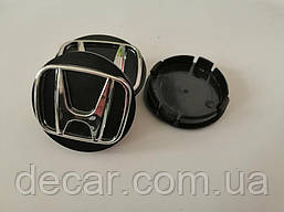 "Колпачки на титаны ""Honda"" (60/55мм) черн/хром. пластик объемный логотип (4шт)"
