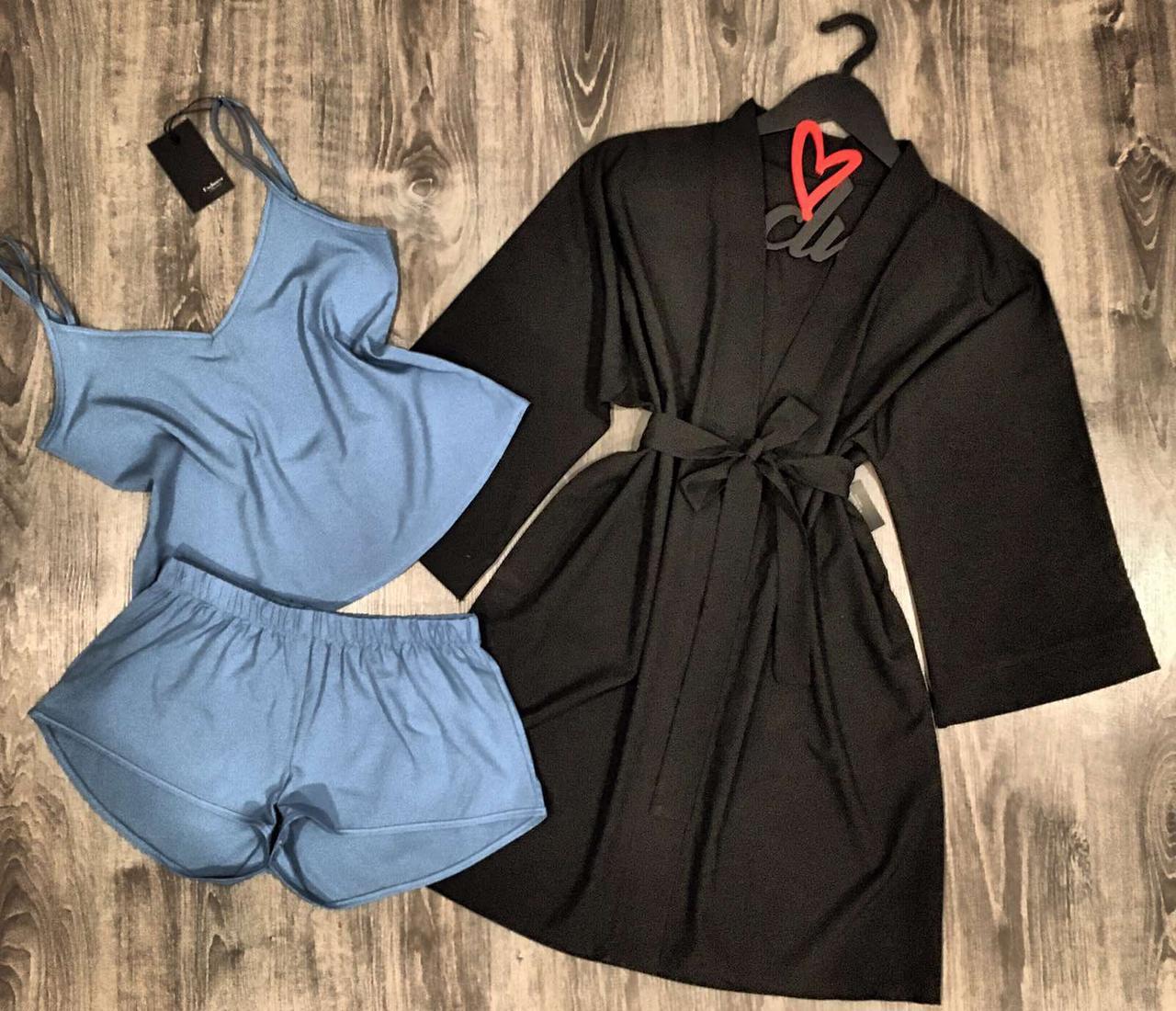 Халат +  Майка с V-образным вырезом + шорты. Комплект из ткани софт.