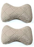 Подушка на подголовник ткань алькантара светло бежевая (2шт)
